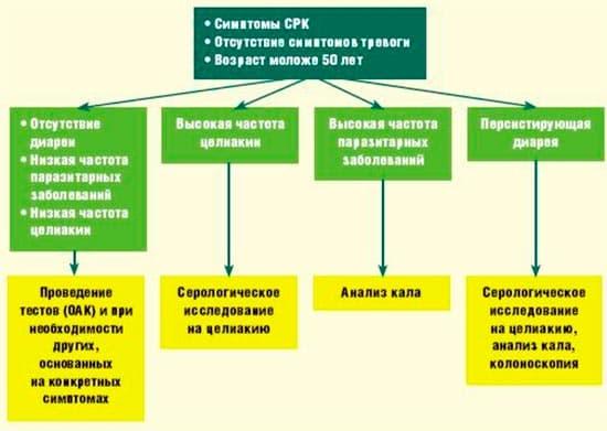Схема: рекомендации по ведению больных СРК